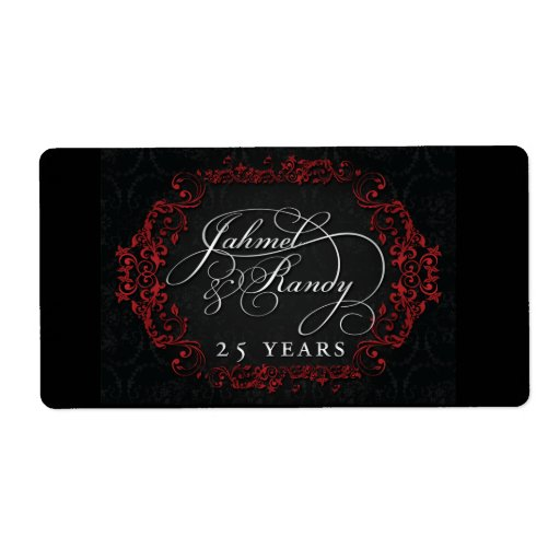 Custom wine labels for 25th anniversary