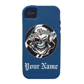 Custom Winking Barber Shop Skull iPhone4 Case