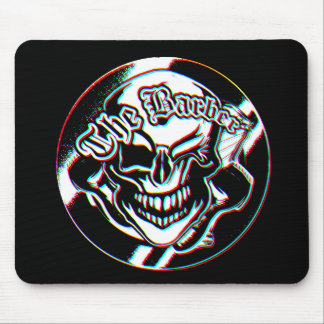 Custom Winking Barber Shop Skull Mouse Pad