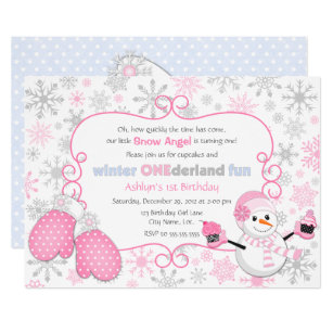 1st birthday cupcake invitations announcements zazzle custom winter one derland 1st birthday invitation filmwisefo