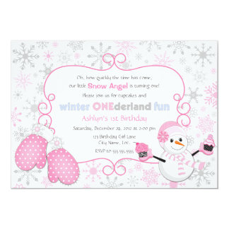 "Custom Winter One-derland 1st Birthday Invitation 5"" X 7"" Invitation Card"