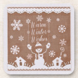 Custom Winter Snowman Plastic Coasters