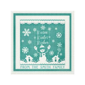 Custom Winter Snowman Wrapped Canvas Canvas Print