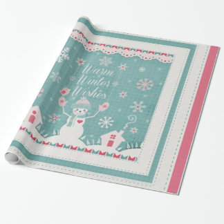 Custom Winter Snowman Wrapping Paper