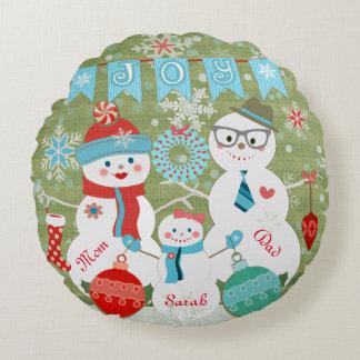 Custom Winter Snowmen Family Christmas Pillow Round Pillow