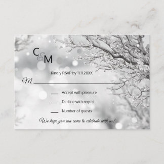 Custom Winter Wonderland Snow Scene RSVP Wedding