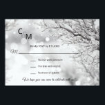 """Custom Winter Wonderland Snow Scene RSVP Wedding Invitation<br><div class=""""desc"""">Elegant and unique winter wonderland theme scene wedding RSVP cards.  Snow and snowflakes with twinkle lights,  branch in white and black background. Editable templates so you can add your own text.</div>"""