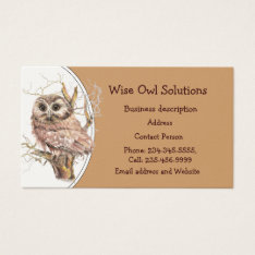 Custom Wise Owl Solutions Business Card at Zazzle