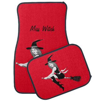 Custom witch on a broom with text floor mat