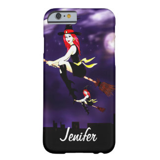 Custom witches on a broomstick flying in the night barely there iPhone 6 case