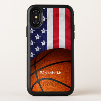 custom women's basketball with American flag OtterBox Symmetry iPhone X Case