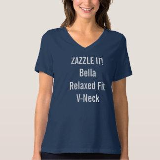 Custom Women's Bella Relaxed Fit V-Neck T-shirt