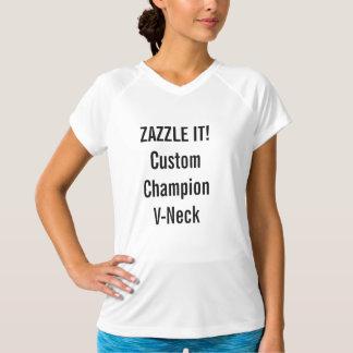 Custom Women's Champion Double-Dry V-Neck T-shirt