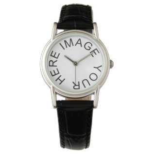 Custom Women's Classic Black Leather Strap Watch at Zazzle