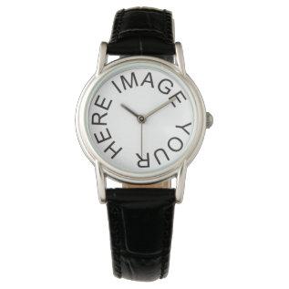 Custom Women's Fashion Classic Black Leather Strap Wristwatch at Zazzle