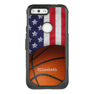 custom women's name basketball with USA flag OtterBox Commuter Google Pixel Case