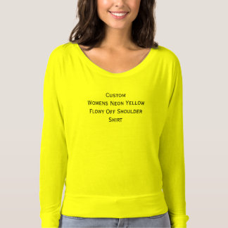 Custom Womens Neon Yellow Flowy Off Shoulder Shirt