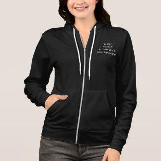 Custom Womens Stylish Black Full Zip Hoodie Jacket