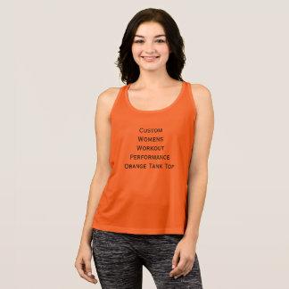 Custom Womens Workout Performance Orange Tank Top