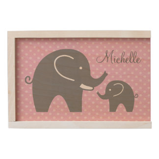 Custom wood baby keepsake boxes with grey elephant