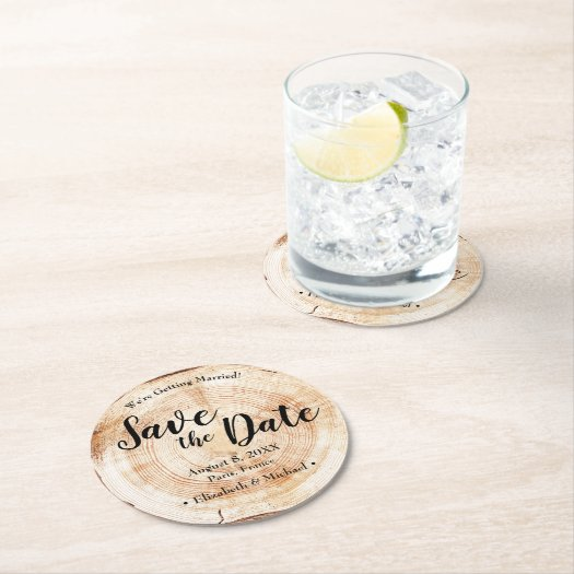 Custom Wood Cut Save the Date Creative Wedding Round Paper Coaster
