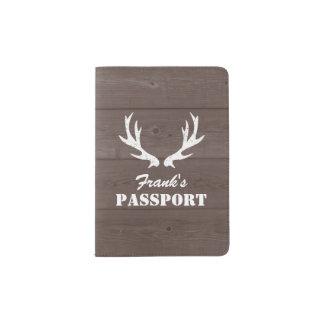 Custom wood grain deer antlers passport holder