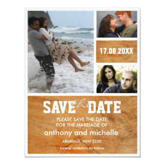 "Custom wood photo block wedding save the date 4.25"" x 5.5"" invitation card"