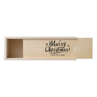 Custom wooden Merry Christmas wine bottle gift box