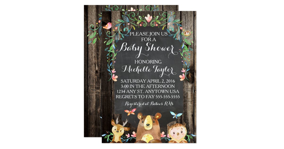 custom woodland animals baby shower invitation zazzle