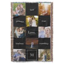 Custom Words Photos Meaningful Gift in Black Throw Blanket