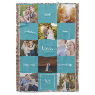 Custom Words Photos Meaningful Gift Turquoise Blue Throw Blanket