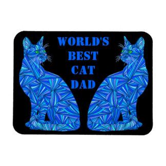 Custom World's Best Cat Dad Blue Cat Magnet