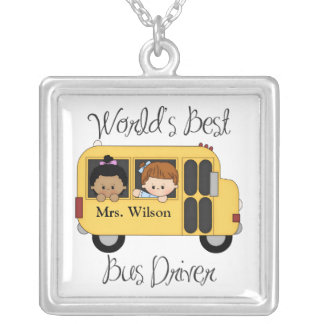 Custom Worlds Best School Bus Driver Silver Plated Necklace