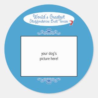 Custom Worlds Greatest Staffordshire Bull Terrier Round Stickers