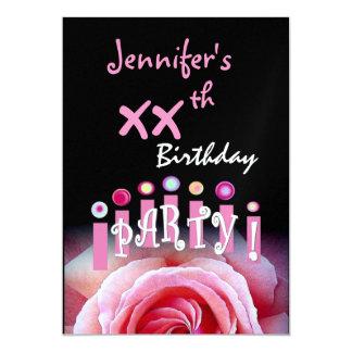 "Custom xxth Birthday Party Invitation Pink Candles 5"" X 7"" Invitation Card"