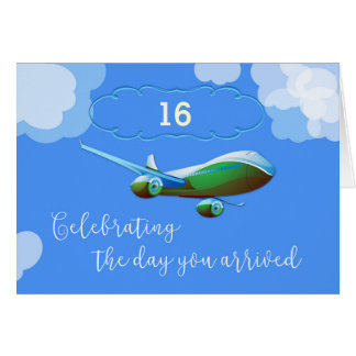 Custom Year, 16, Airplane Day Adoption Green Airpl Card