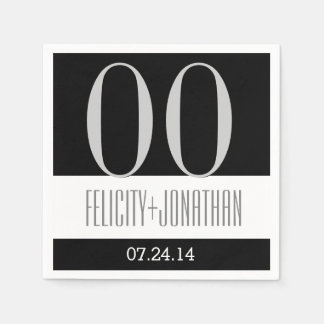 Custom Year Anniversary Modern Black Silver V21 Paper Napkin