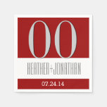Custom Year Anniversary Modern Red and Silver V23 Paper Napkins