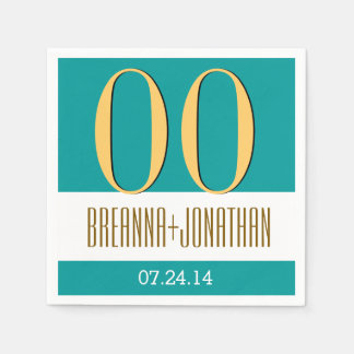 Custom Year Anniversary Modern Teal and Gold V14 Paper Napkin