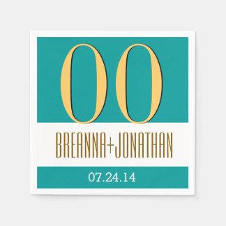 Custom Year Anniversary Modern Teal and Gold V14 Paper Napkin