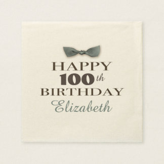 Custom Year | Antique Happy Birthday Brown/Slate Paper Napkin