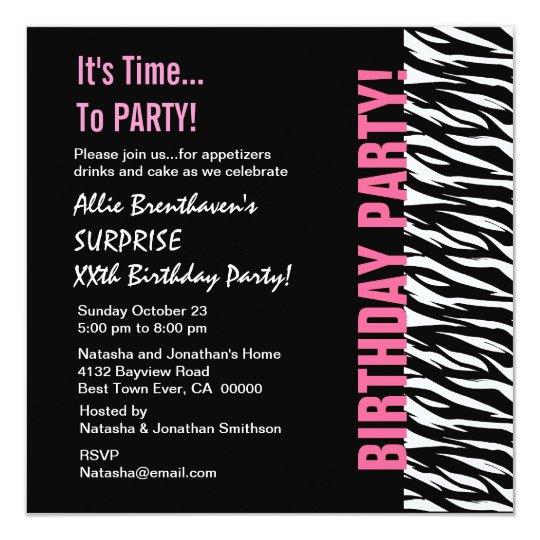 Custom Year Birthday Pink and Black  Zebra V055 Card