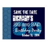 Custom Year  Birthday Save the Date Blue Midnight Postcard