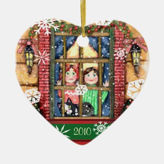 Custom Year Christmas Girls & Cat Scene Ornament