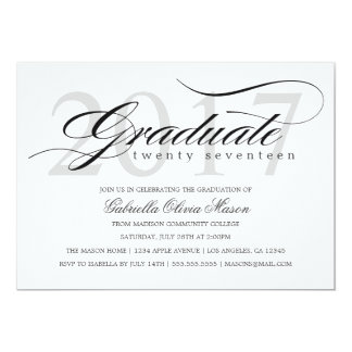 Custom Year Elegant Graduate | Graduation Party Card