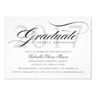 Custom Year Elegant Graduate Graduation Party Card at Zazzle