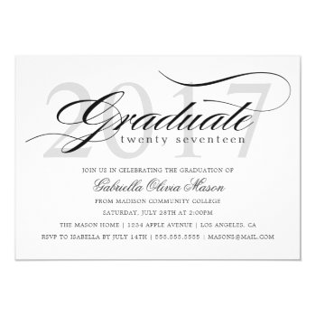Custom Year Elegant Graduate Graduation Party Card by PinkMoonPaperie at Zazzle