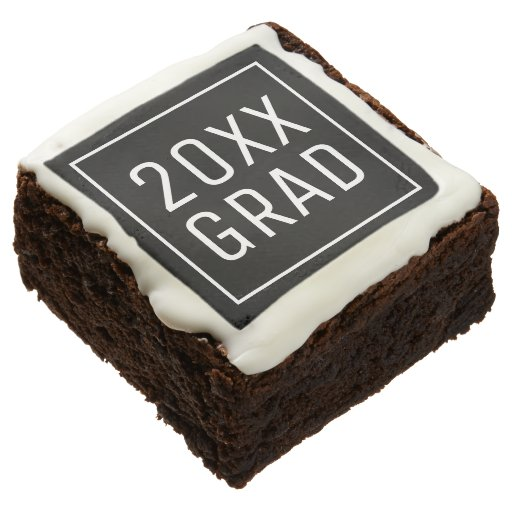 Custom Year Grad Black White Modern Graduation Brownie