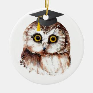Custom Year Graduation Fun Wise Owl Christmas Ornament