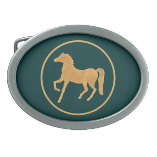 Custom Year of the Horse Belt Buckle, Teal